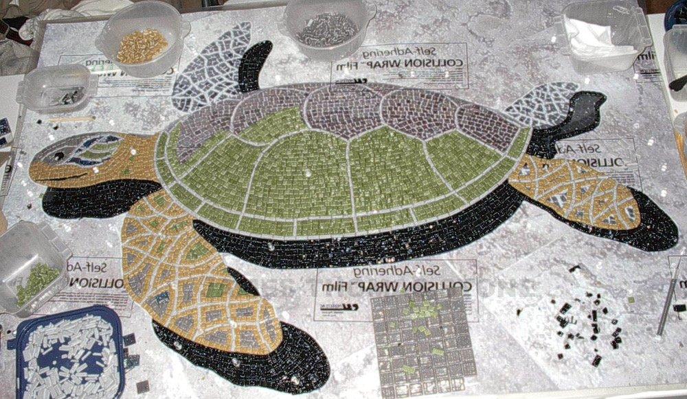 handmade glass mosaic turtle