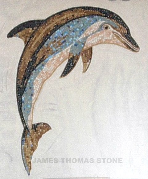 glass mosaic dolphin